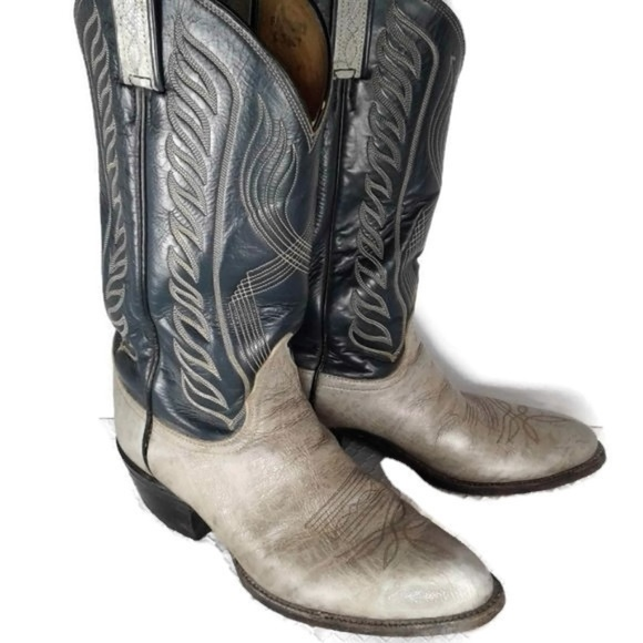 697451222a9 Tony Lama Navy Blue Gray Vintage Western Boots 10